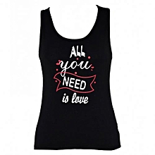 Black Printed Womens Tank Tops