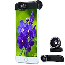LIEQI LQ - 018 3 In 1 180 Degree Fisheye Super Wide 0.65X Half Shell Clip Fisheye Lens For IPhone 6 Plus 6s Plus 5.5 Inches - Black