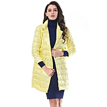 Women Thickening Fold Collar Warm With Pocket Outwear - Light Yellow