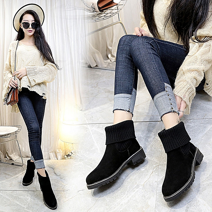 New Womens Low Heel Ankle Boots Snow Boots Autumn Winter Shoes Fashion  -Black -CN 403e1ad6f6