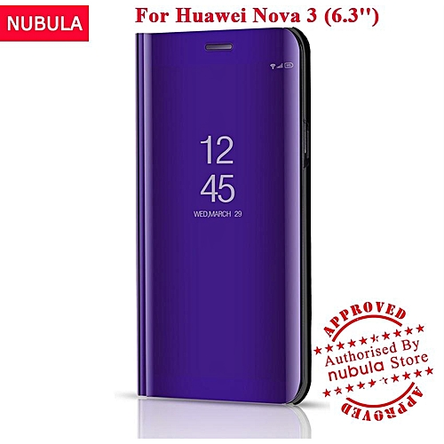 online store 250b9 c1b38 For Huawei Nova 3 Flip Case,360 Degree Luxury Mirror Clamshell Hard Shell  Case Smart Clear View Flip Cover For Huawei Nova 3 129097 Color-0