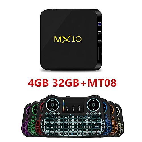 NEW MX10 TV BOX Android 7 1 smart TV box Rockchip RK3328 4GB RAM 32 ROM  kodi 18 0 Suppot H 265 UHD 4K 2 4G WiFi Set-top box plug (Blueberry) YCMI-A