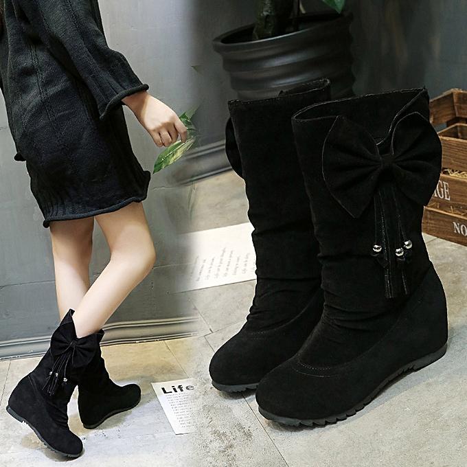 60403c2a5 Women Boots Bowknot Tassel Winter Boots Warm Mid Calf Boots Winter Shoes  BK/35-Black 35-40