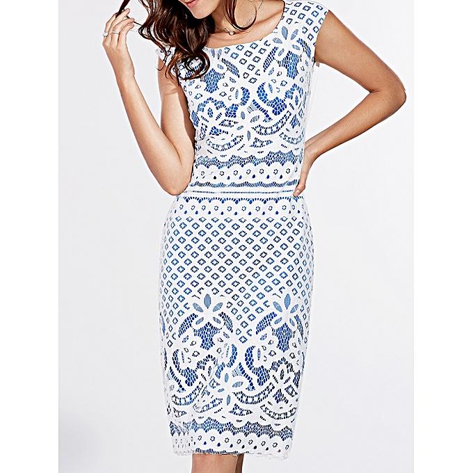 Buy Fashion Short Sleeve Lace Crochet Pattern Dress Blue Best