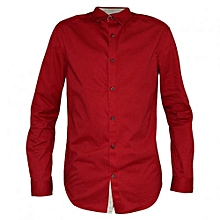 Red Men's Long Sleeved casual buttoned down Shirts