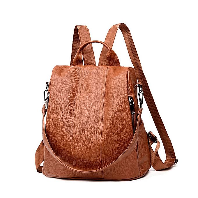 b81b47e38fd fashion quality luxury women's backpack youth leather backpack retro girl  bag white backpack large capacity travel backpack(brown)