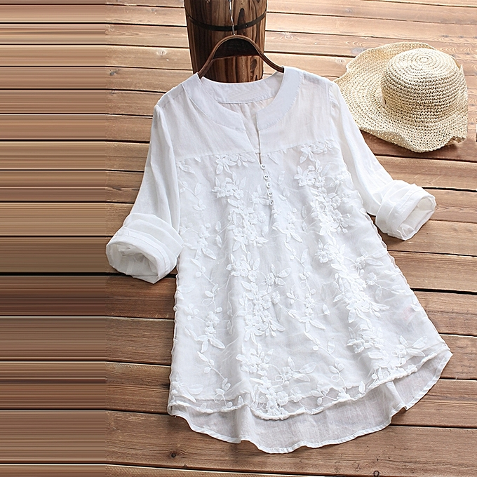 d0824f93b7a04 Women Lace Long Sleeve Loose Top Blouse V Neck Linen Tops T-Shirt Plus Size
