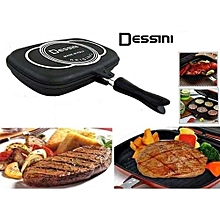Die Cast Double Sided Made in Italy Grill  Pan 36cm - Black