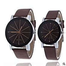 Single Ladies Quartz Watch Line Dial Leather Band - Brown