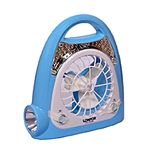 Portable Rechargeable Fan With Lamp - Blue