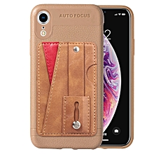 Litchi Texture Full Coverage Shockproof TPU Case for iPhone XS Max, with Card Slots & Holder(Gold)