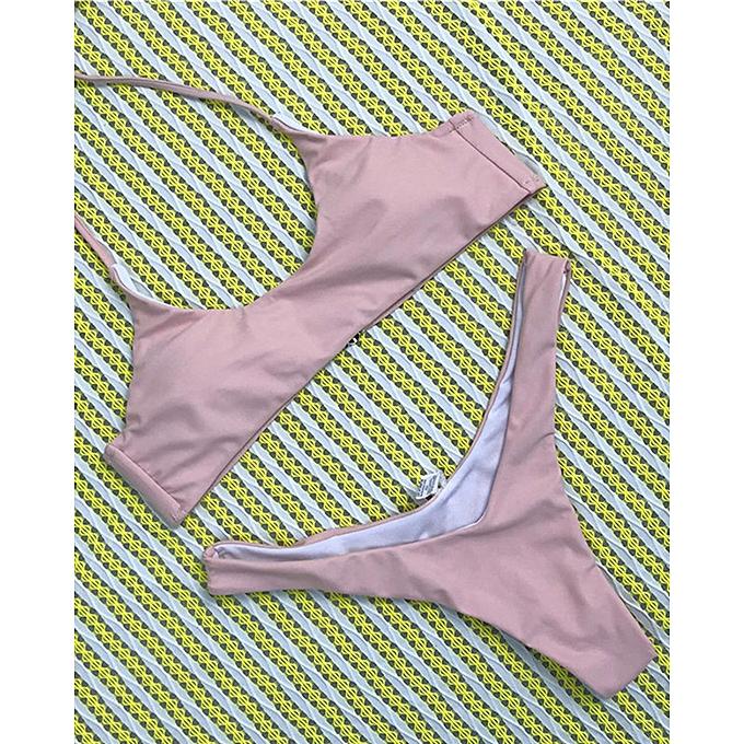 a649855ba759f ... New Solid Pink Color Micro Bikini Set Women Swimsuit 6-14 Size Sexy  Thong Bikini ...