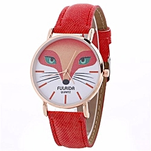 Lady  Leather Wrist Watch FULAID918658  Women Creative Pattern Quartz Watch Leather Strap Belt Table Watch -Red