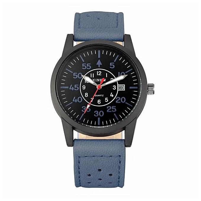 Vintage Classic Men's Waterproof Date Leather Strap Sport Quartz Army Watch BU-Blue
