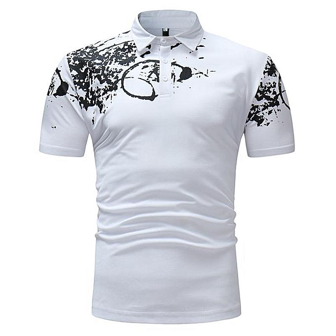 8c445e6cd30 Men s Casual Short Sleeve Lapel Golf Shirt Classic Black White Printing Tops  Tees