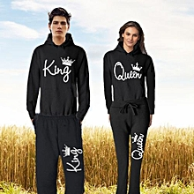 New Arrival Hot Selling Queen And King Pants Sweater T-shirt Couple Suit Women's Fashion And Men's Fashion Lovers Set Couple Set Pullover Black