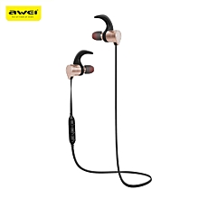 Awei AK3 Waterproof Magic Magnet Attraction Bluetooth 4.1 Sports Headphones with Microphone On-ear Control - GOLDEN