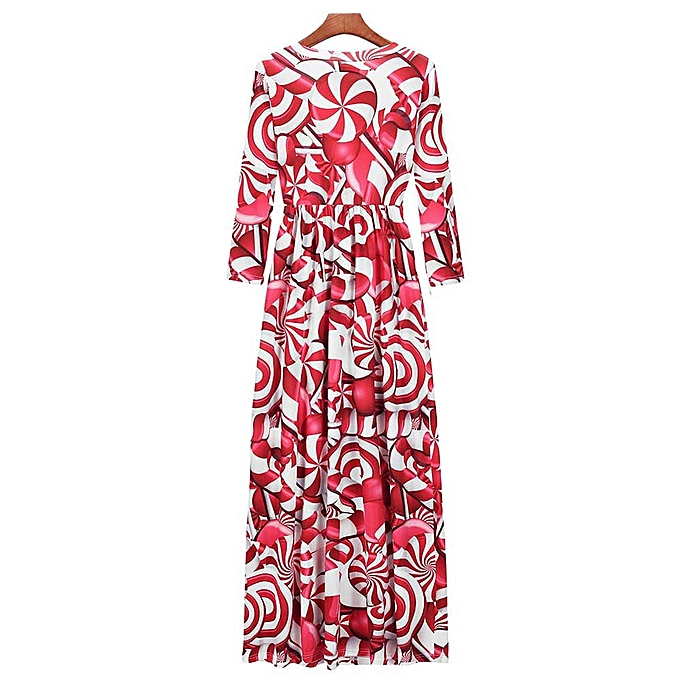women christmas print long sleeve dress ladies evening party long maxi dress