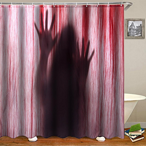 Generic 71 Halloween Scary Bathroom 3D Printed Shower Curtain Polyester With 12 Hooks