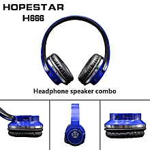 2-in-1 Bluetooth Headphones with Mic Deep Bass Wireless Headset FM Radio blue