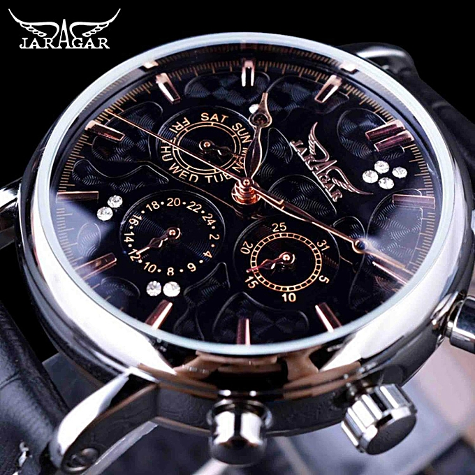 Jaragar Blue Sky Series Elegant Design Genuine Leather Strap Male Wrist Watch Mens Watches Top Brand