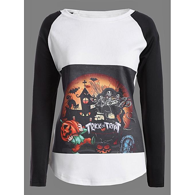 acd59f09 Fashion Raglan Sleeves Pumpkin Skull Print Halloween T-Shirt @ Best ...