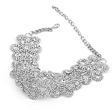 Full Diamond Plated Flower Shape Woman Necklace Golden/Silver Charming Choker silver