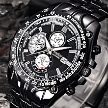 AI Men's Fashion Military Stainless Steel Analog Date Sport Quartz Wrist Watch