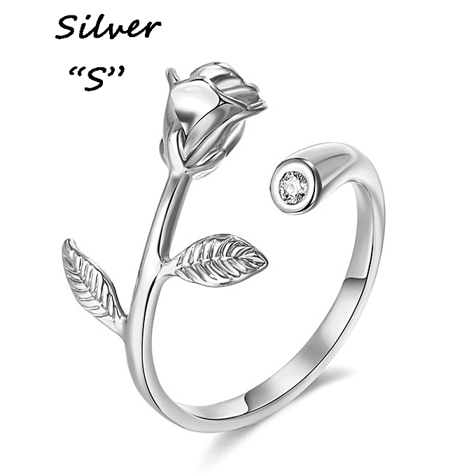 Rose Flower Ring Adjustable One Size For All Crystal Rings Blossom Branch Finger Love For Women ...