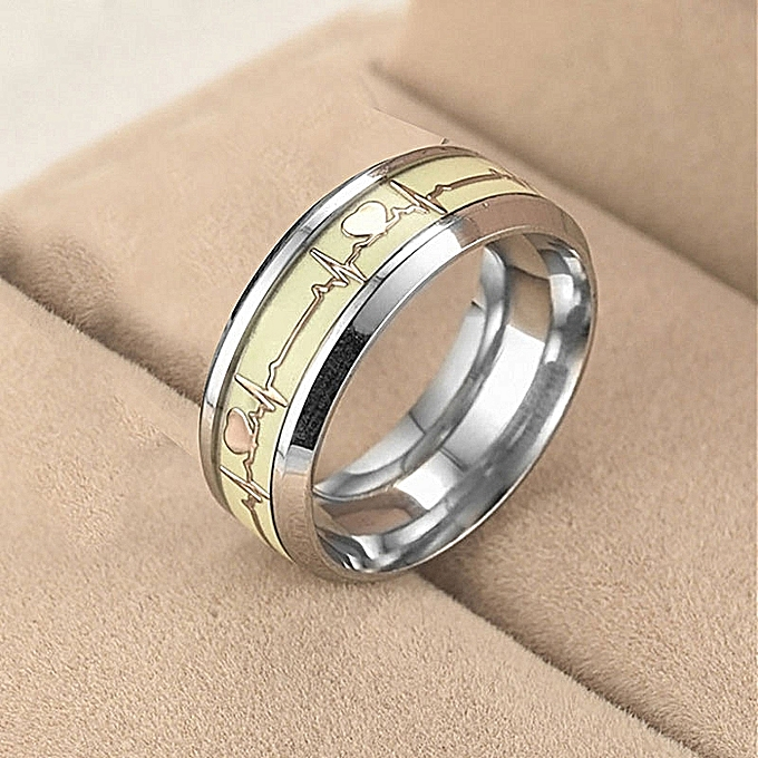 41304744190e1 Luminous Heartbeat Ring Stainless Steel Wedding Rings for Men Women Lovers  Gift