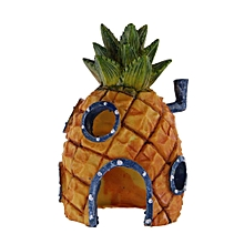 Aquarium Decoration Cartoon Pineapple House Kids Gift Fish Tank Decor Simulation Resin Ornament Specification:Pineapple House