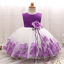Elegant Baby Girls Dress Fluffy Child Skirt Sleeveless Princess Dress With Flower-Purple