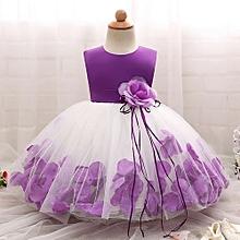 Elegant Baby Girls Dress Fluffy Child Skirt Sleeveless Princess Dress With Flower-Purple