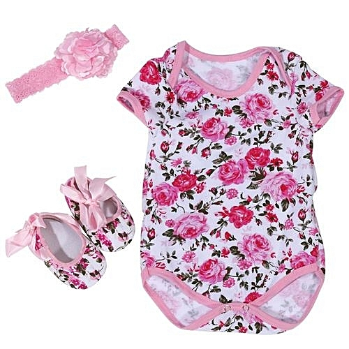 0836ca61d896 UNIVERSAL 3Pcs Set Cotton Short Sleeve Romper Baby Jumpsuit With Head Band  And Shoes (Rose Pattern M)