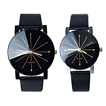 couple Quartz Dial Clock Leather Wrist Watch Black