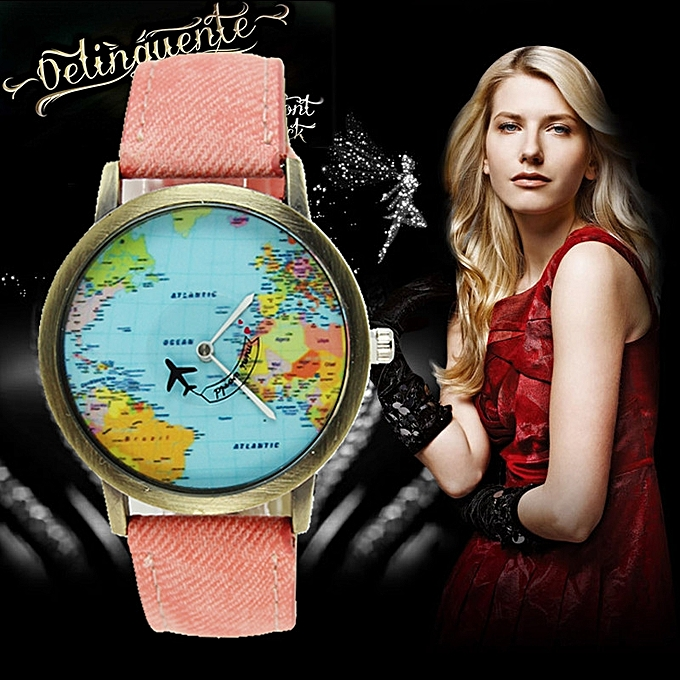 Generic New Global Travel By Plane Map Women Dress Watch Denim Fabric Band A1