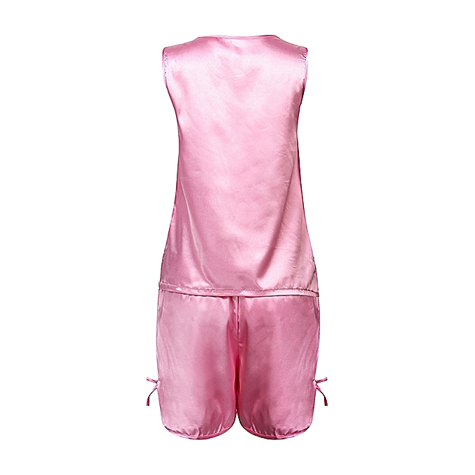 ... Sexy Ice Silk Sleeveless Soft Sleepwear Set Elegant Pajamas For Women f6e04a276