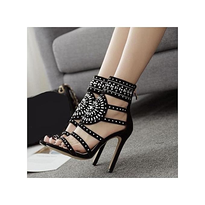 023042b6aaf Fashion Xingbiaocao Women Fashion Stick A Drill Sandals Exotic High Heels  Summer Luxury Dress Shoes -Black