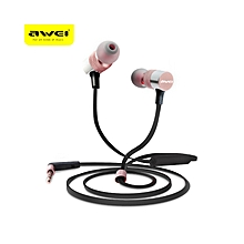 ES - 20TY 3.5MM Plug Wired Headphones Foldable Stereo HiFi Music Earphones - Rose Gold