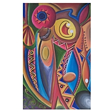 Modern abstract wall painting - 65 by 106 cm - multicolored