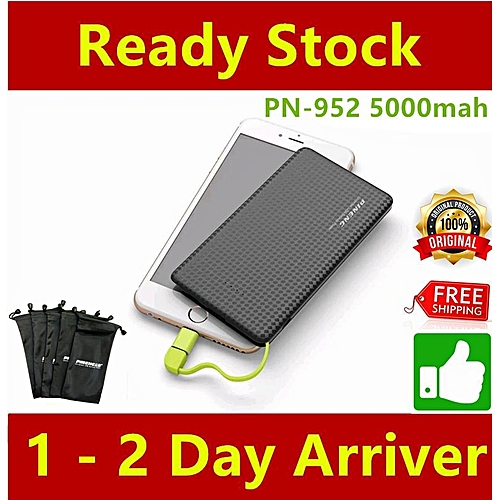 [Small-Size] 2018-952 Pineng PN-952 5000mAh Power Bank PN 952 PN952 [Black] BGmall