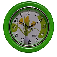 Wall clock - Round shaped, lime Green plastic frame-26 cms diameter