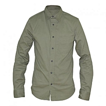 Olive Green Long Sleeved Mens Basic Shirts