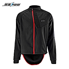 SAHOO Cycling Windproof Full Zippered Windproof Polyester Fabric Jacket  - Black
