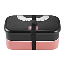 1000ml Double Layer Lunch Box Food Storage Container Bento Boxes with Spork