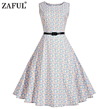 Women Hepburn Flaral Dot Printing Design Belt Dress - Warm White