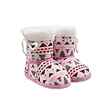 Infant Toddler Newborn Baby Bear Print Soft Sole Boots Prewalker Warm Shoes-Pink