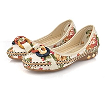 Women's Shoes Flat Casual Flat Loafers Round Toe Flats Colorful Round Toe Loafers Beige