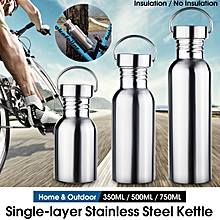 Stainless Steel Water Bottle Wide Mouth Flask with Outdoor Carabiner Leak-proof Jar Sporting Water Bottle for Hiking Travel 750ml 550ml 350ml