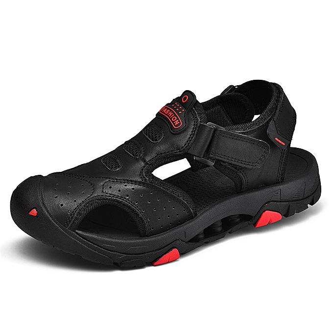 4487d8aff SocNoDn Men Fashion Casual Soft Hiking Beach Sandals Shoes Black ...